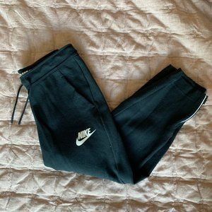 Nike Cropped Black Sweatpants With  Zip Hem